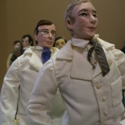 Cover image of JWIC: Dolls for Democracy figurine - Banting and Best. Biography is included.